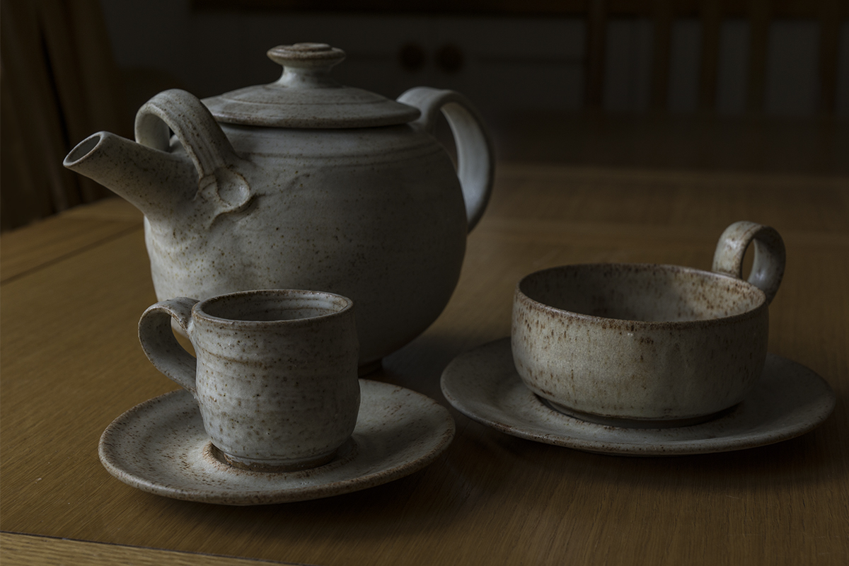 Hand thrown teapot and cups