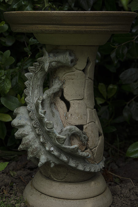 Dragon sculpture wrapped around the pedestal of the birdbath